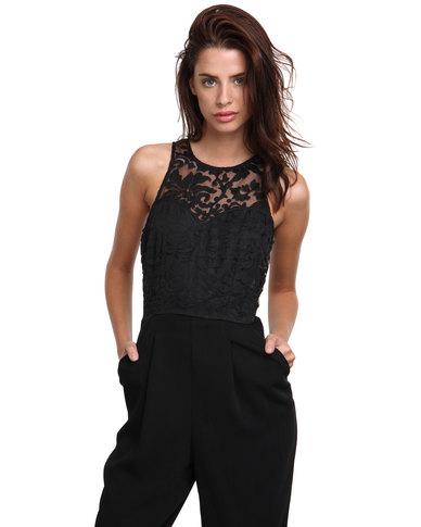 d6fa460aca5 AX Paris Lace Top Jumpsuit Black