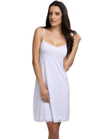 Lila Rose Knee Length Slip White