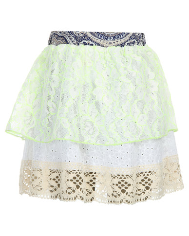 Eco-Punk Lacey Tiered Skirt Mix White