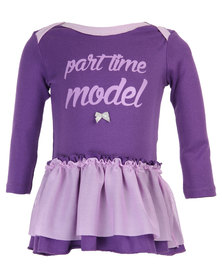 Eco-Punk Baby Dress Hem Frills Purple