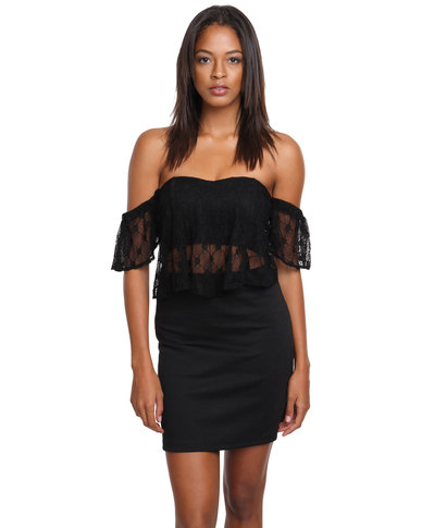 8516c324bbe3 HASHTAG SELFIE Frill Off Shoulder Dress Black