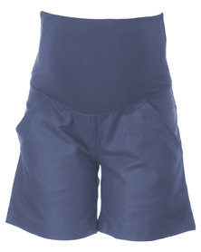 Annabella Maternity Linen Chino Shorts Blue