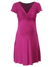 Annabella Maternity Gabriella Twist Dress Magenta