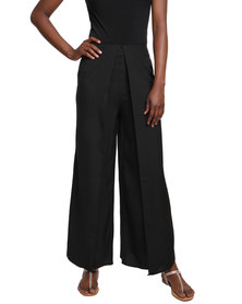 G Couture Split Leg Feminine Pants Black