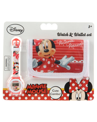 ff054e48bc6 Character Brands Minnie Mouse Wallet and Watch Set Red