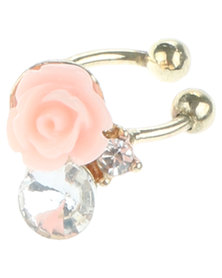 Rings & Things Rose Charm Ear Cuff Pink