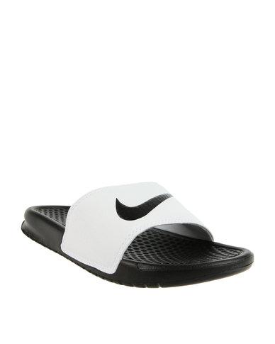 718bf0684d76 Nike Benassi Swoosh Slide Black White