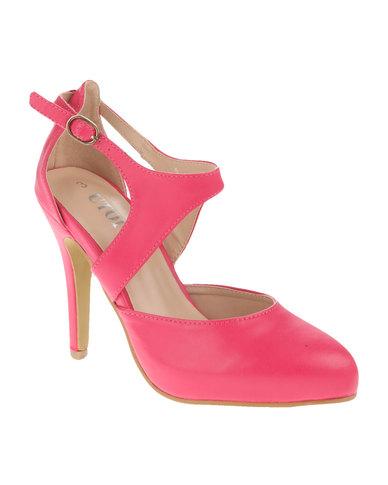 ff46ef39e Utopia Vamp Strap Heel Court Shoes Pink