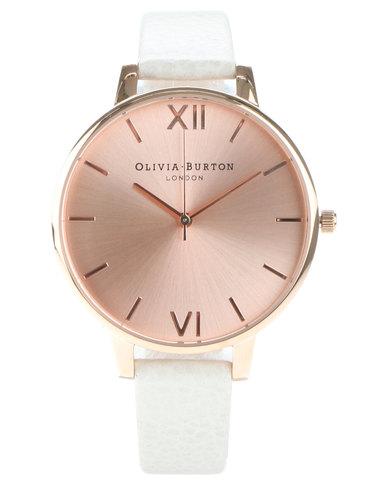 9df72b9aa71c Olivia Burton Big Dial Leather Strap Watch Mink Rose Gold
