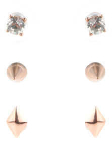 Miglio Spike Earring Set Rose Gold-Tone