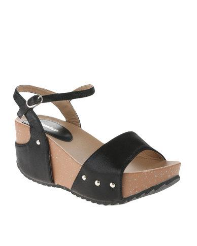 1a4d87aa382 Bata Buckle Strap Wedge Sandals Black