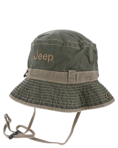 92970e673a4b2 Jeep Side Snap Bucket Hat Olive