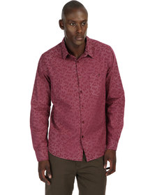 Neuw Long Sleeve Scarf Shirt Red
