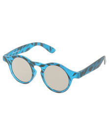 SKYE London Matt Touch Retro Round Sunglasses Blue