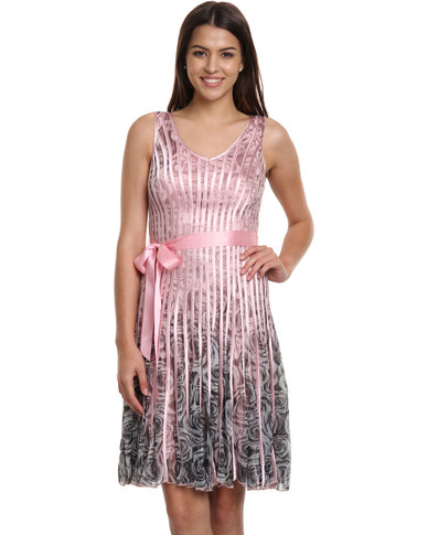 Queenspark Rose Print Glamour Knit Dress Pink Zando