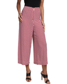 Famous Zoe Soft Wide Dotted Pants Burgundy