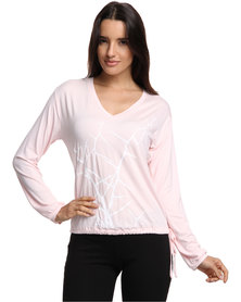Brava Printed V-Neck Top Pink