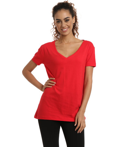 Utopia Basic V-neck Tee Red
