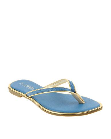 Thong Blue Slip On Awol Sandals f7vgY6bIy