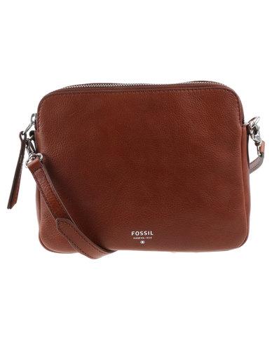 289cb2256db Fossil Sydney Leather Zip Top Cross Body Bag Brown