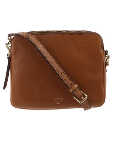 b9d8a21c755 Fossil Sydney Leather Zip Top Cross Body Bag Tan
