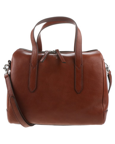 Fossil Sydney Leather Barrel Bag Brown