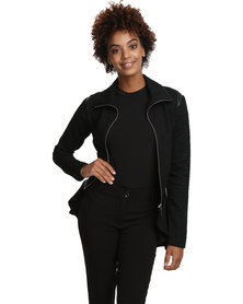 Female by Perfect Fit Short Jacket with Leather Inserts Black