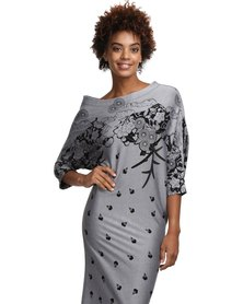 Larisa MODA Milano Print Dress Grey