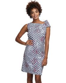 Larisa MODA Yacht Dress Navy and White Stripes