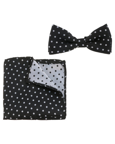 216a98311aa6 Robert Daniel Dot Bow Tie With Pocket Square Black | Zando