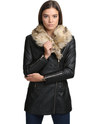 Revenge Faux Fur Jacket Black