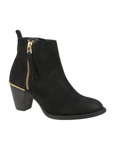 Steve Madden Wantagh Leather Ankle Boots Black