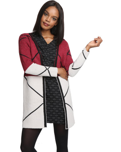 Crave Geo Knit Cardi Red