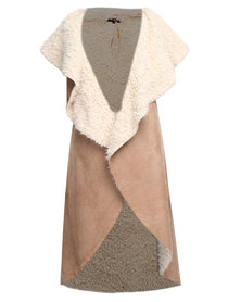 Revenge Shearling Long Sleeveless Coat Brown