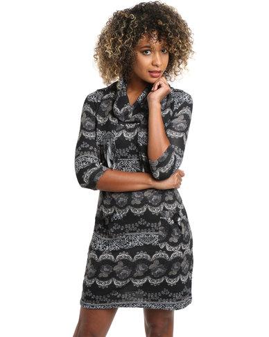 Revenge Mutli Colour Dress with Scarf Black & Grey