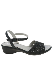 Ladies Nubuck Low Heel Strappy Sandal Black