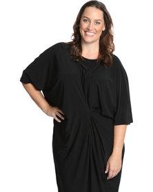 Isabel de Villiers Clothing Drape Dress Plus Size Black