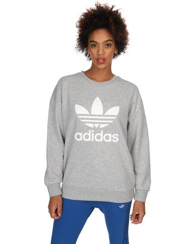 Grey Adidas Trefoil Trefoil Adidas Sweatshirt Sweatshirt lcTK3F1J