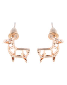 Que Boutique Origami Deer Stud Earrings Rose Gold-tone