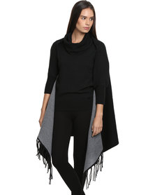 G Couture Reversible Fringed Cape with Cuffs Black/Grey