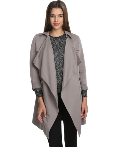 New Look Waterfall Duster Coat Grey  14533ec33