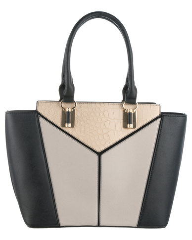 New Look Geo Panelled Willow Bag Black