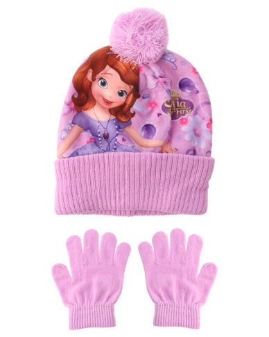 deee3140369 Character Brands Sofia The First Beanie And Gloves Set Pink Purple ...