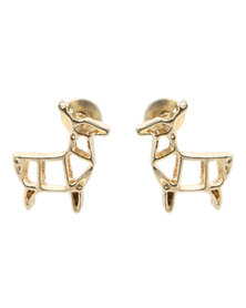 Que Boutique Origami Deer Stud Earrings Gold-tone