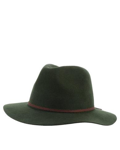 a955f51726db3b Brixton Wesley Wool Fedora Hat Green | Zando