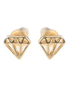 Que Boutique Paragraph Stud Earring Gold-tone