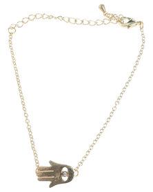 Que Boutique Hamsa Bracelet Gold-tone