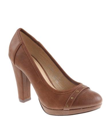 8ae57001dddb Bata Block Heel Court Shoe Brown
