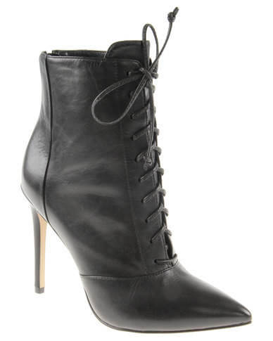 a8d215c5ca9 Steve Madden Paulinee Leather Heeled Lace Up Boots Black