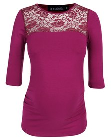 Annabella Maternity Autumn Lace Inset Maternity Top Pink